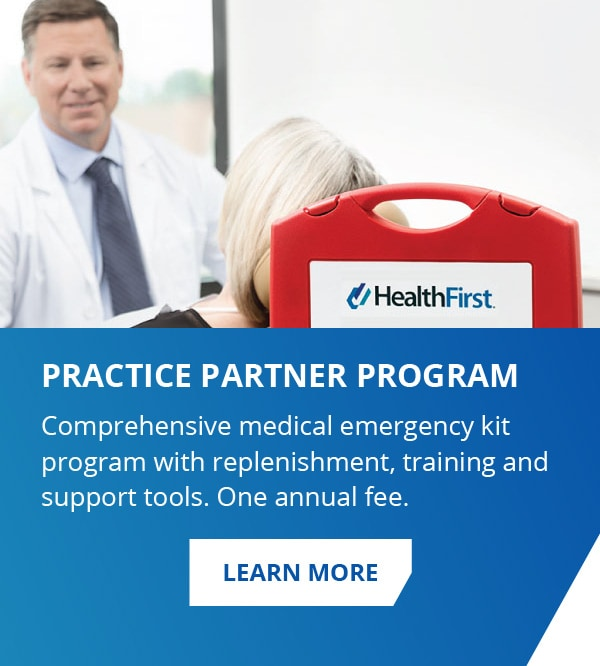 Practice Partner Program. Comprehensive medical emergency kit program with replenishment, training and support tools. One annual fee.